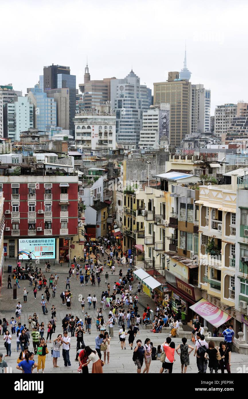 China, Macao, el centro histórico, Patrimonio Mundial de la UNESCO, Rua da Sao Paulo Imagen De Stock