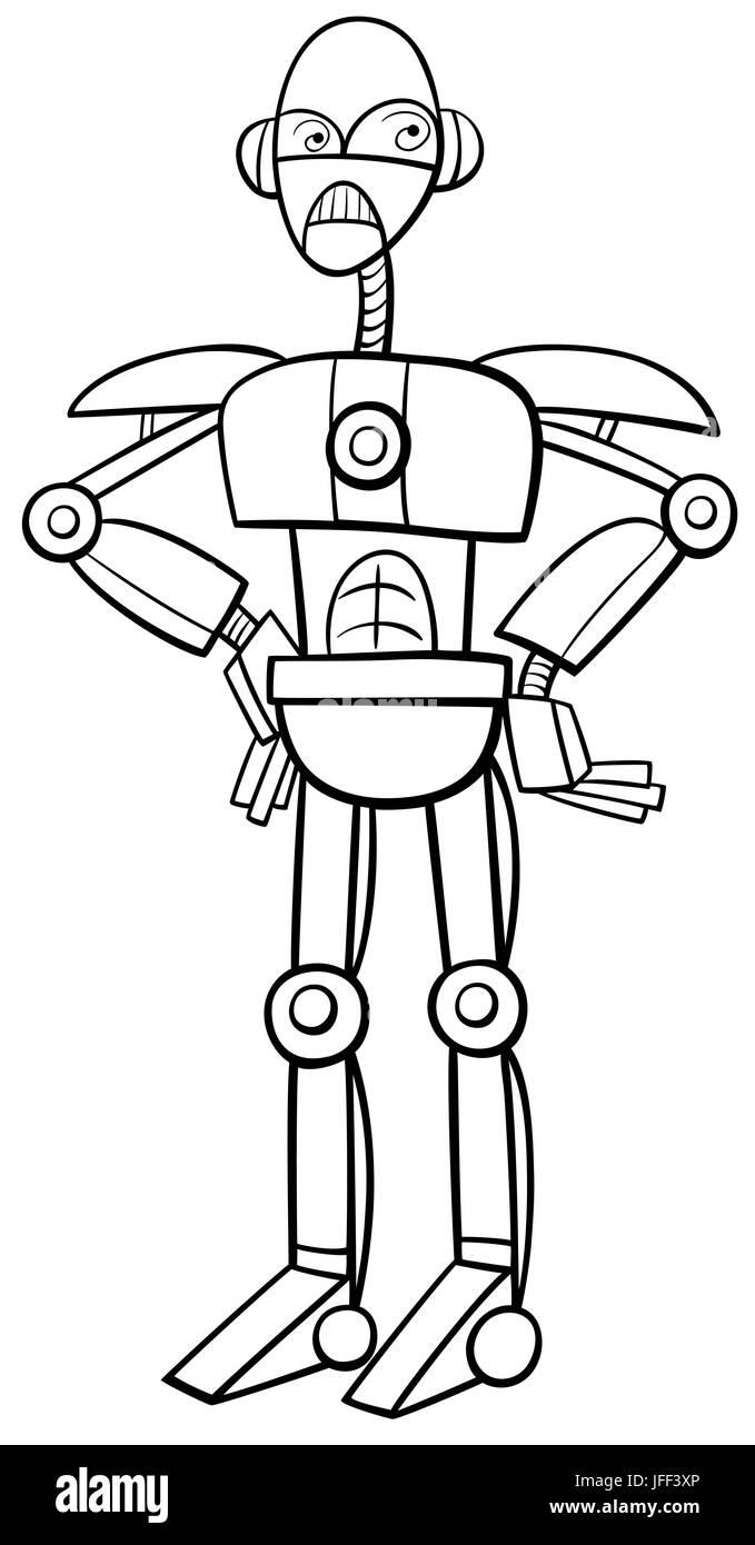 Único Chica Robot Para Colorear Adorno - Dibujos Para Colorear En ...