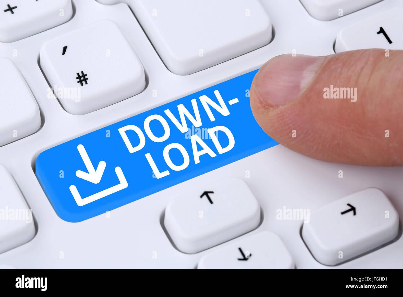 Descargar Herunterladen drücken von Programm símbolo Imagen De Stock