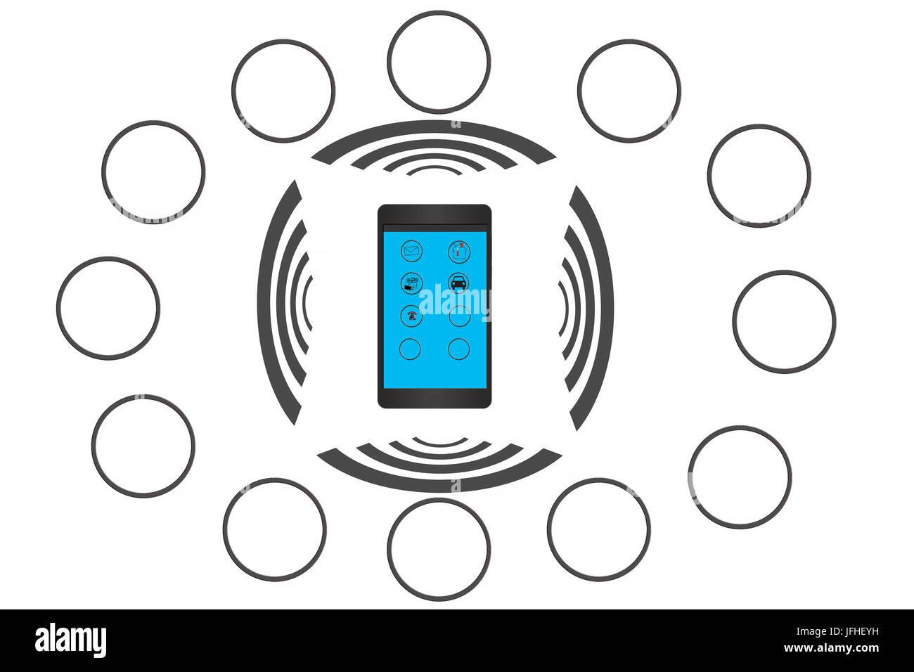Aplicación de teléfono inteligente para el hogar inteligente de redes generales y de control. Imagen De Stock
