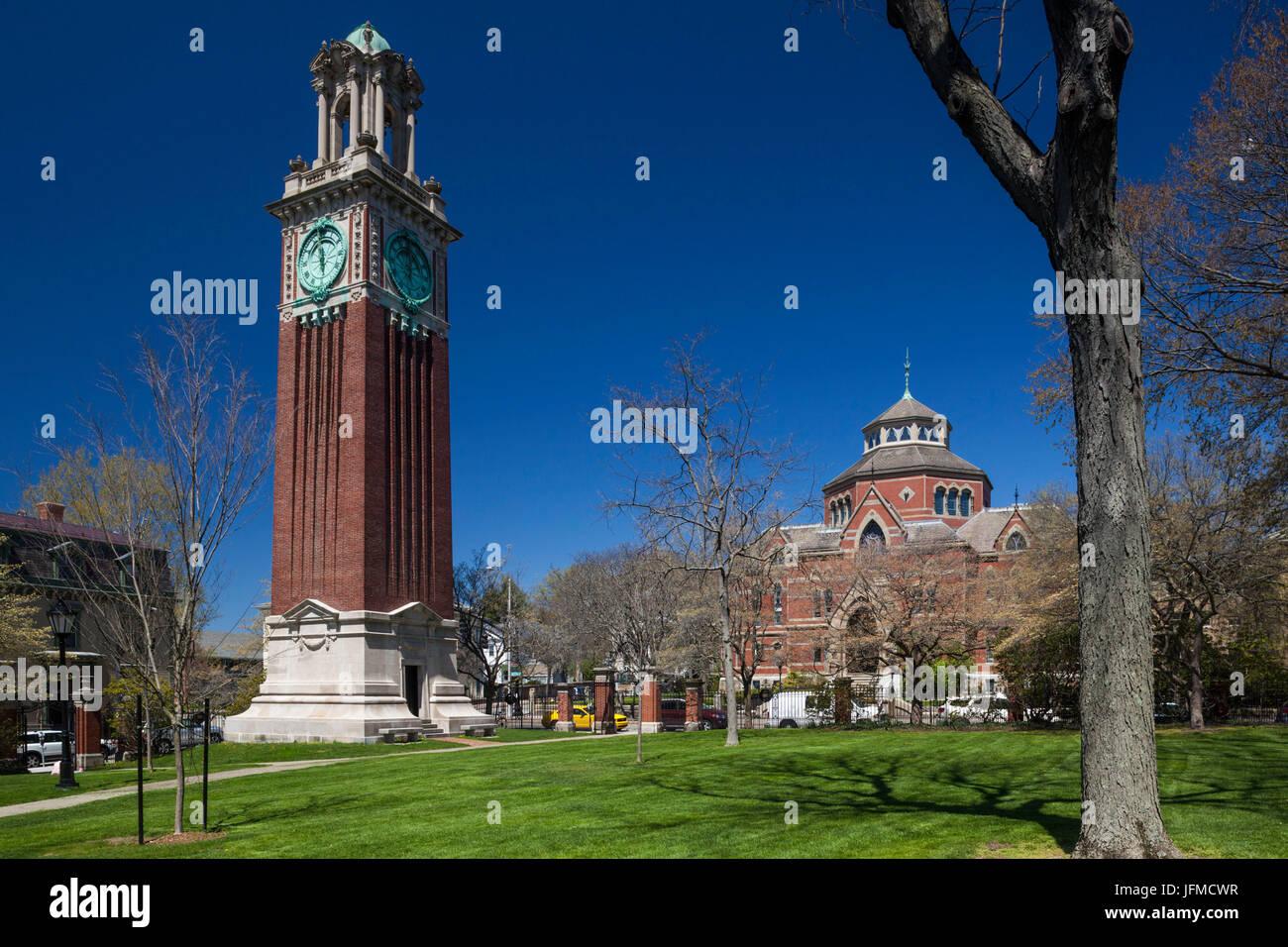 Estados Unidos, Providence, Rhode Island, la Universidad de Brown, ivy-league campus universitario y Carrie Tower Imagen De Stock