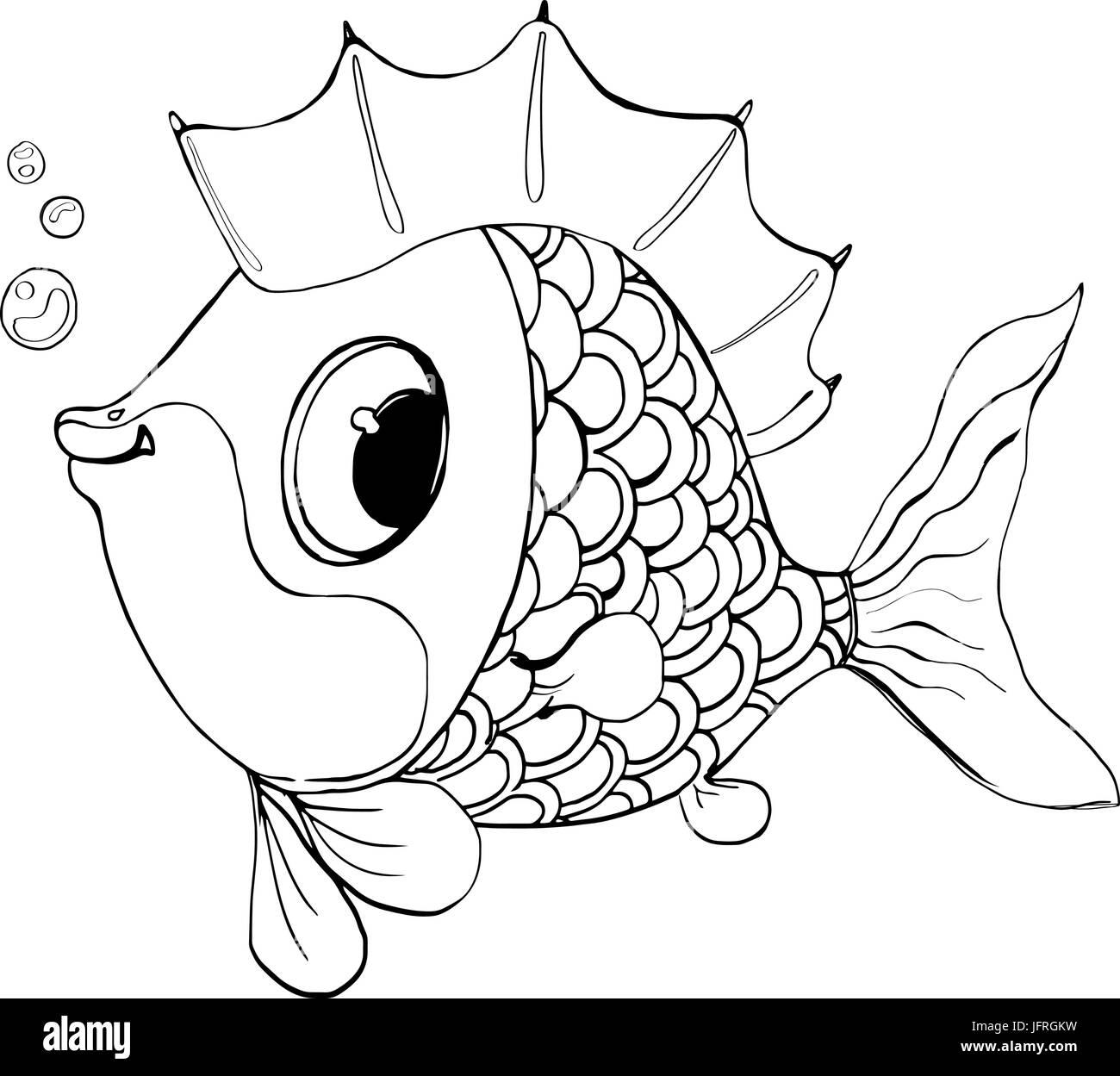 Peces Vectoriales De Un Cuento De Hadasbuen Pescado Para Colorear