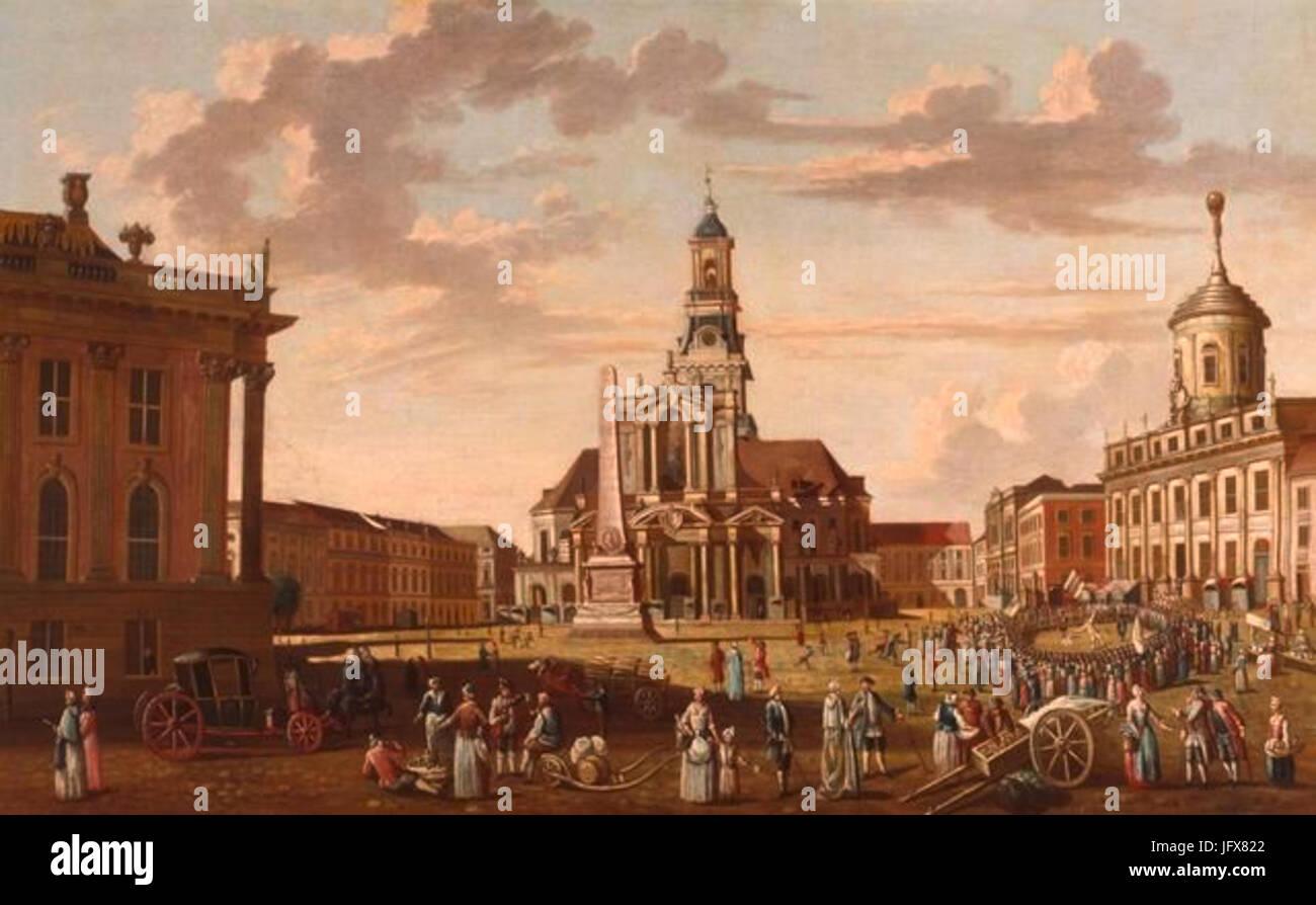 El barón Karl Christian Wilhelm - Alter Markt en Potsdam mit Nikolaikirche Foto de stock