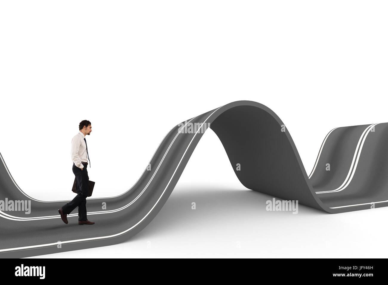 El empresario listo para arrancar en un camino complicado. Concepto de desafío Imagen De Stock