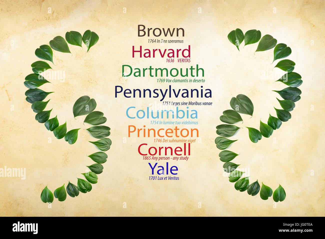 Las universidades Ivy League pintados de colores adecuados con fecha de fundada y lemas en vintage papel Imagen De Stock