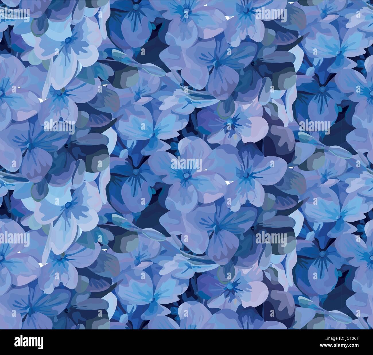 Hydrangea Hortensia Flor Patron Sin Fisuras Acuarela De Vectores De