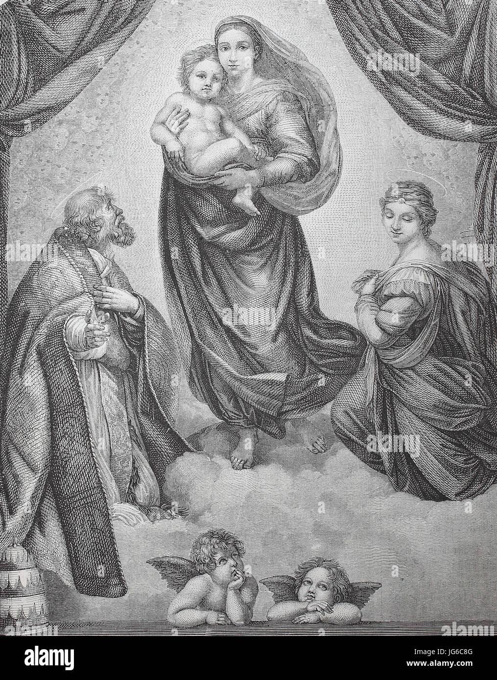 Mejorado: Digital, la Madonna Sixtina, también llamada la Madonna di San Sisto, es un óleo pintado por Imagen De Stock
