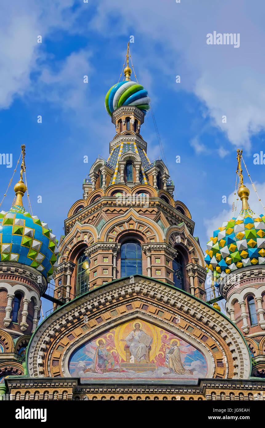 Cúpulas en forma de cebolla de la Iglesia de la resurrección de Cristo, conocida también como Iglesia Imagen De Stock