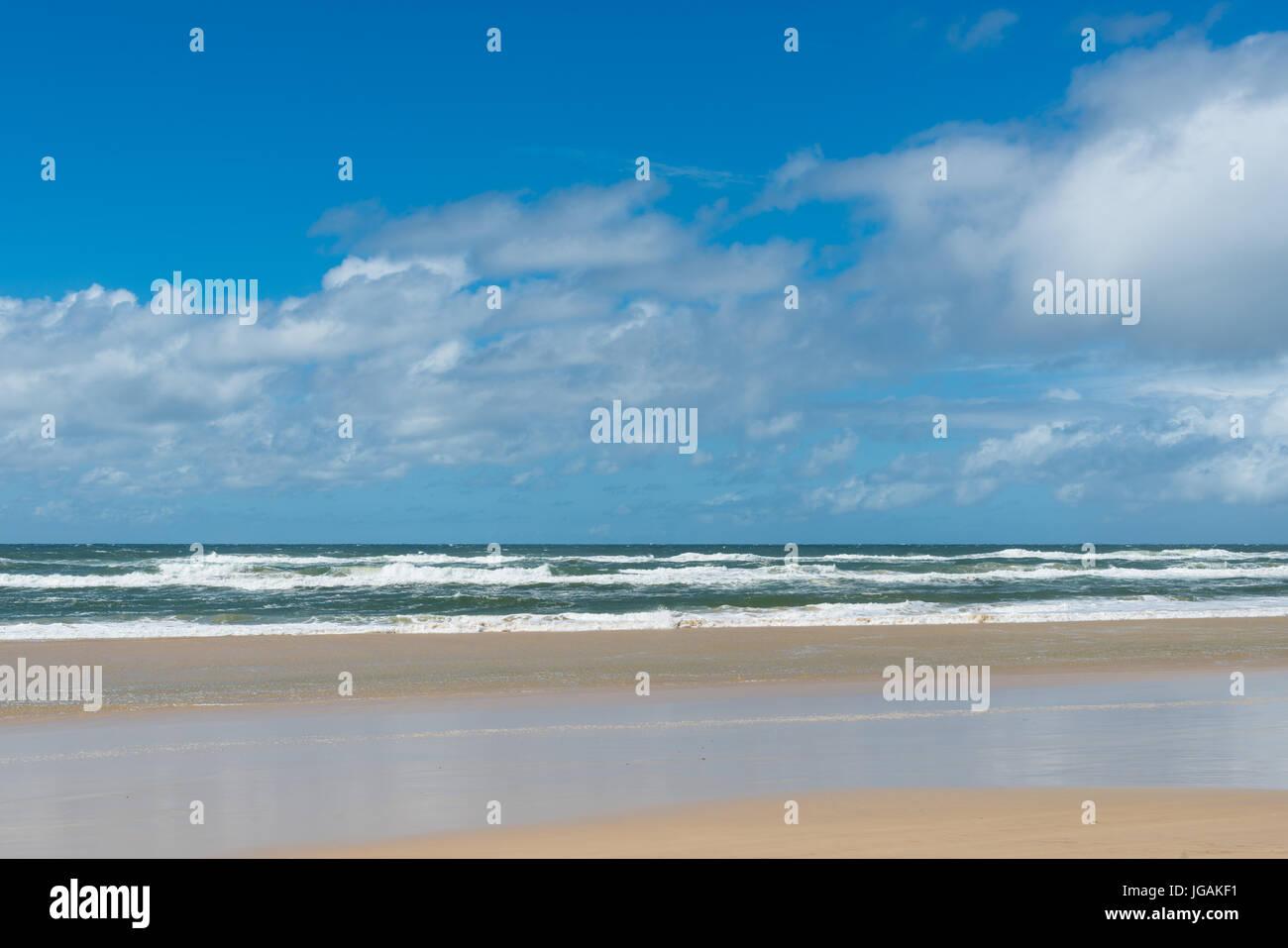 Playas de arena parte del Parque Nacional Great Sandy, Queensland, Australia. Imagen De Stock