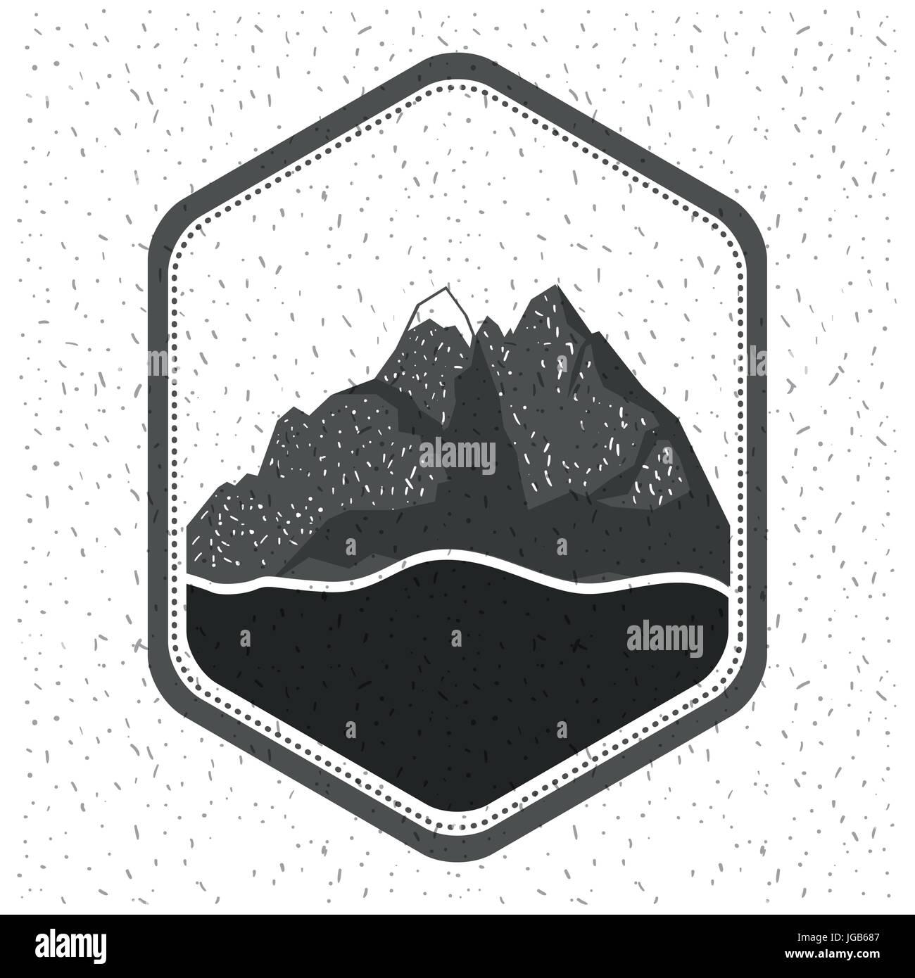 Fondo blanco con destellos de silueta monocroma emblema con las montañas y el río. Ilustración del Vector