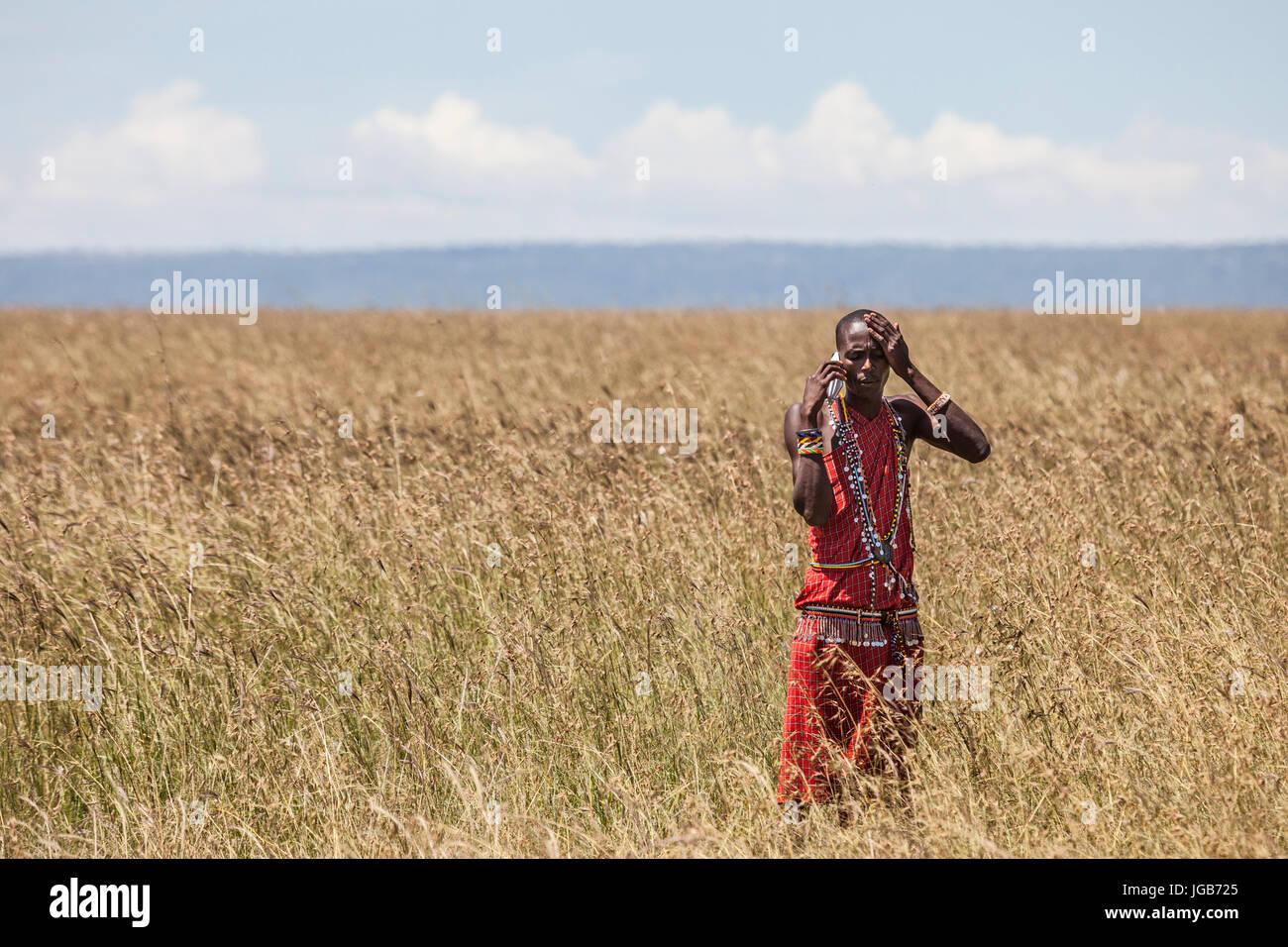 Guerrero Masai hablando por teléfono en la sabana de Masai Mara, Kenya. Foto de stock