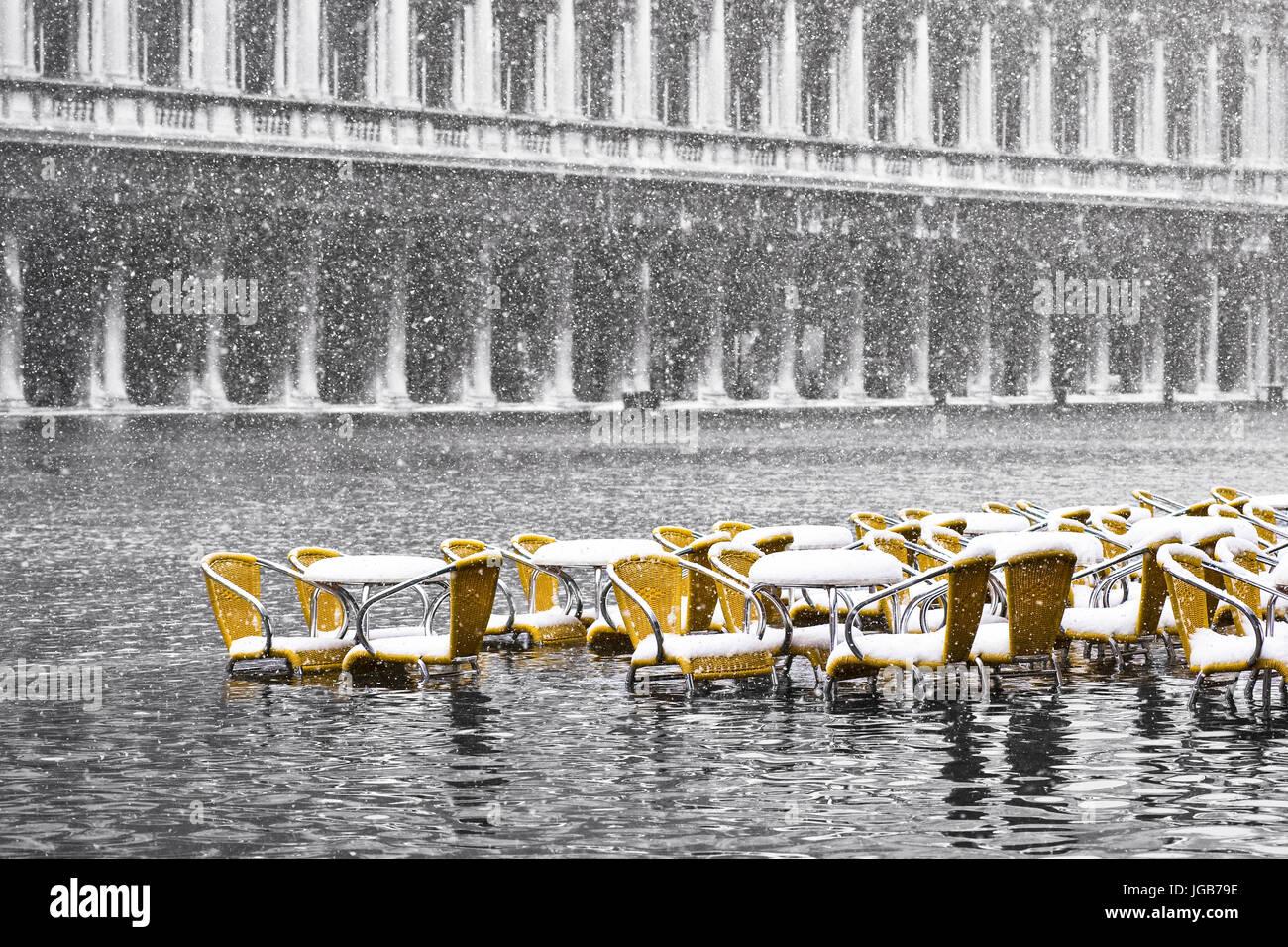 Marea Alta en Venecia, Italia. Foto de stock