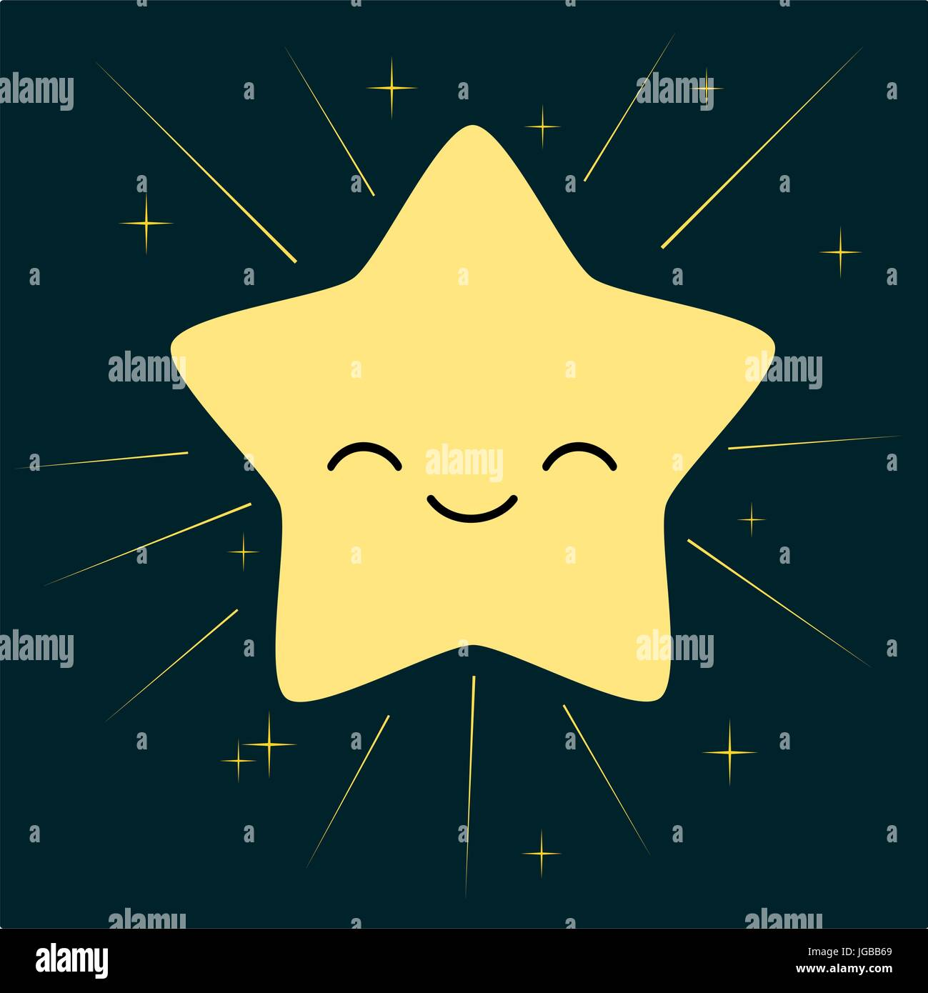 Cute Dibujos Animados Aislados De Estrellas En El Cielo