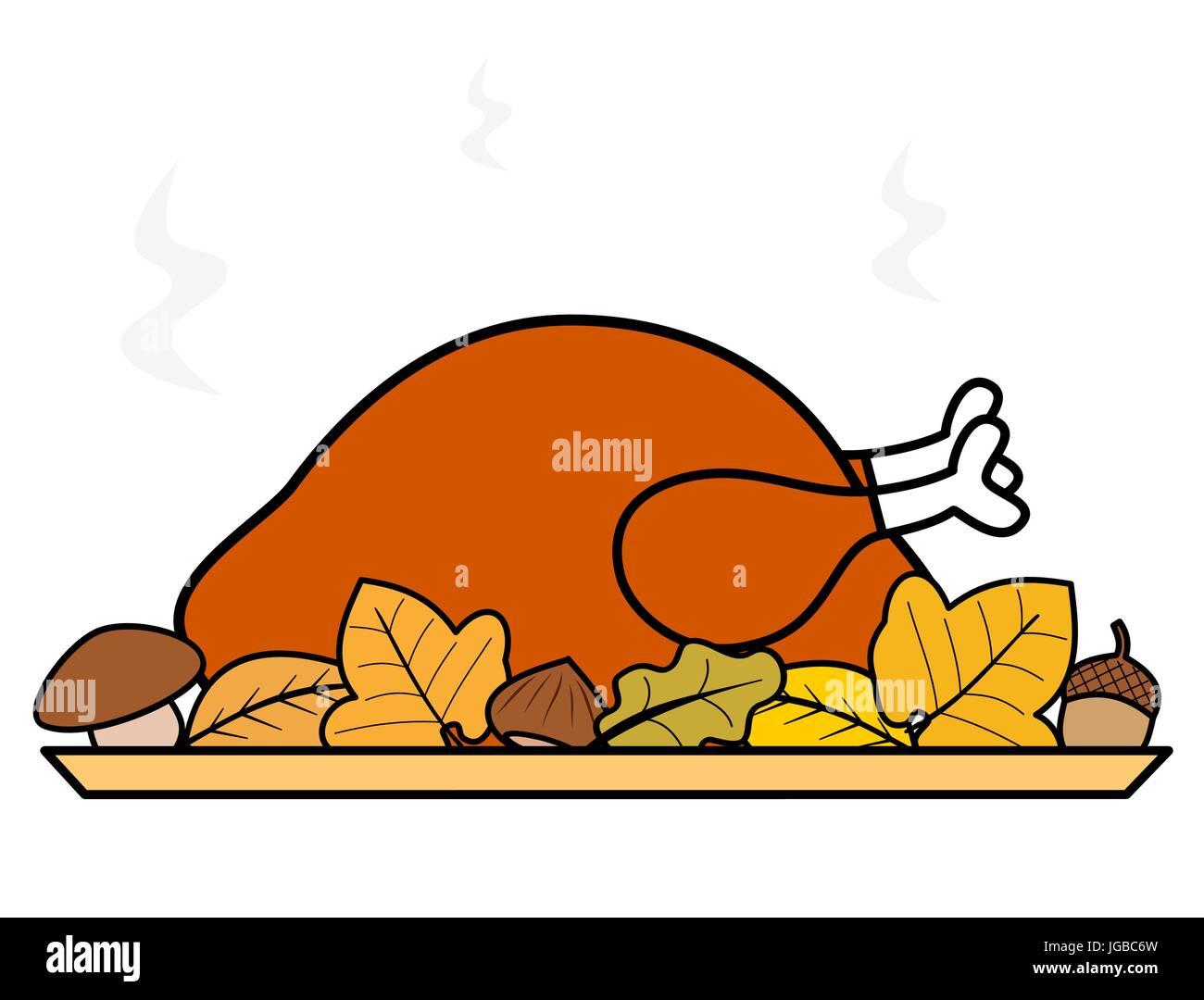 Caricatura Del Día De Acción De Gracias Pavo Asado Ilustración
