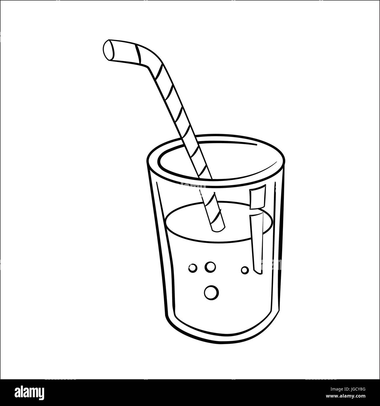 Croquis dibujados a mano de zumo de vidrio, aislado caricatura en ...