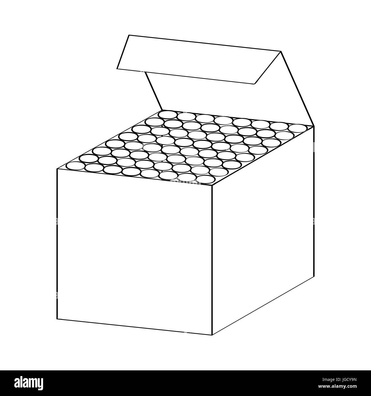 Croquis Dibujados A Mano De La Caja De Tizas Aislados En Blanco Y