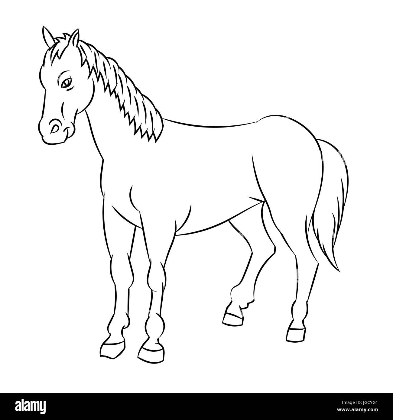 Croquis dibujados a mano de caballo aislado, en blanco y negro para ...