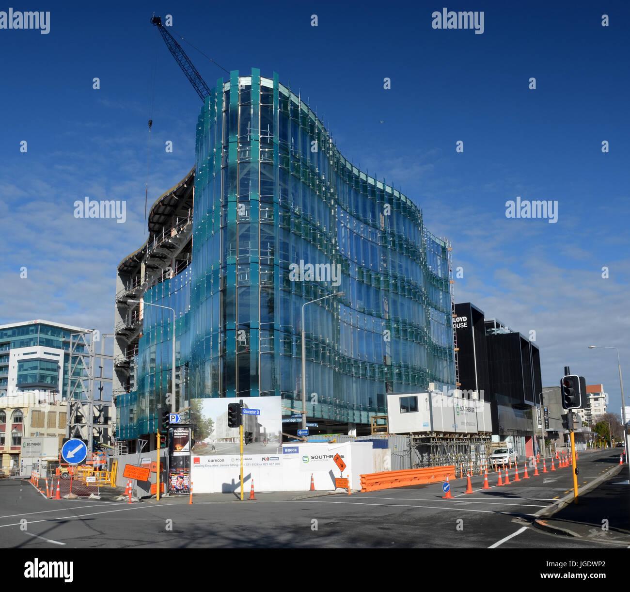 Christchurch, Nueva Zelanda - Septiembre 13, 2014: 151 Cambridge Terrace vidrio innovadores se aproxima a la finalización Foto de stock