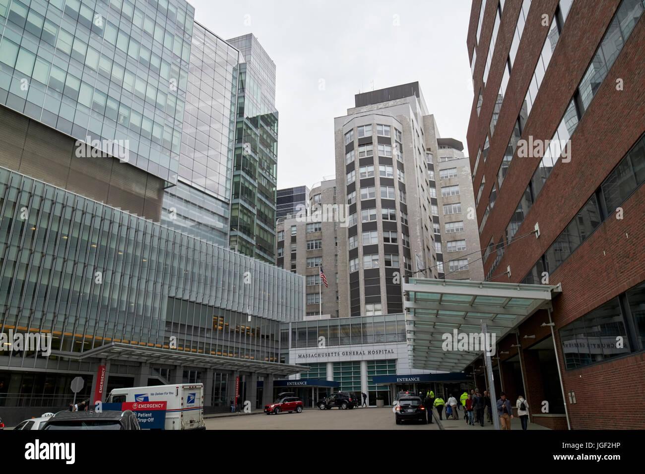 Lunder edificio y edificio de entrada principales de urgencias en el hospital general de Massachusetts en Boston Imagen De Stock
