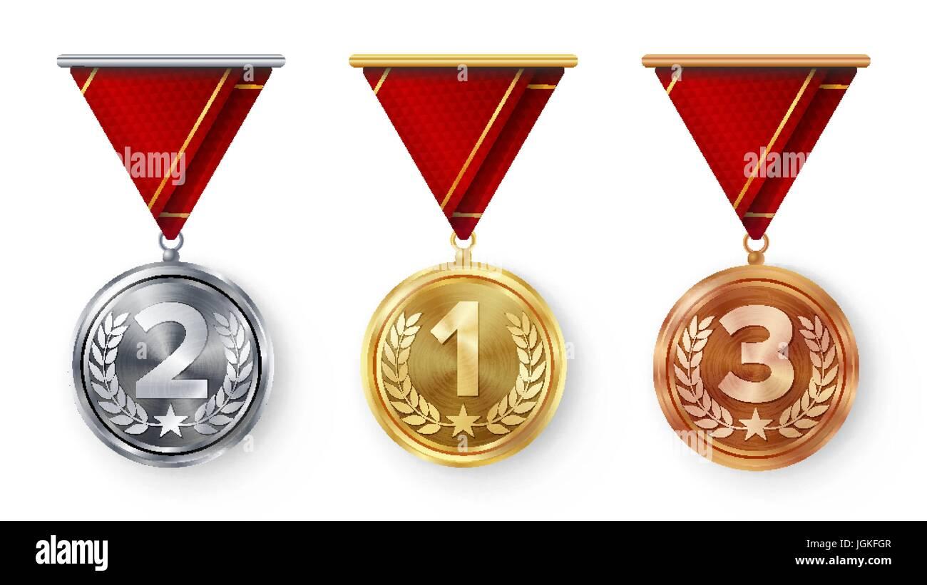 Medallas De Campeón Conjunto Vector. Metal Realista
