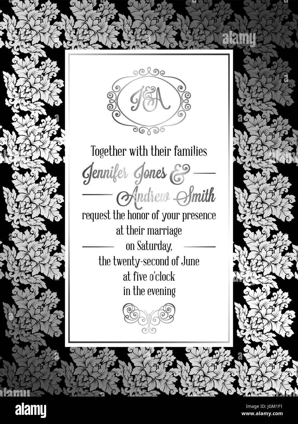 Vintage Estilo Barroco Plantilla De Tarjeta De Invitación De