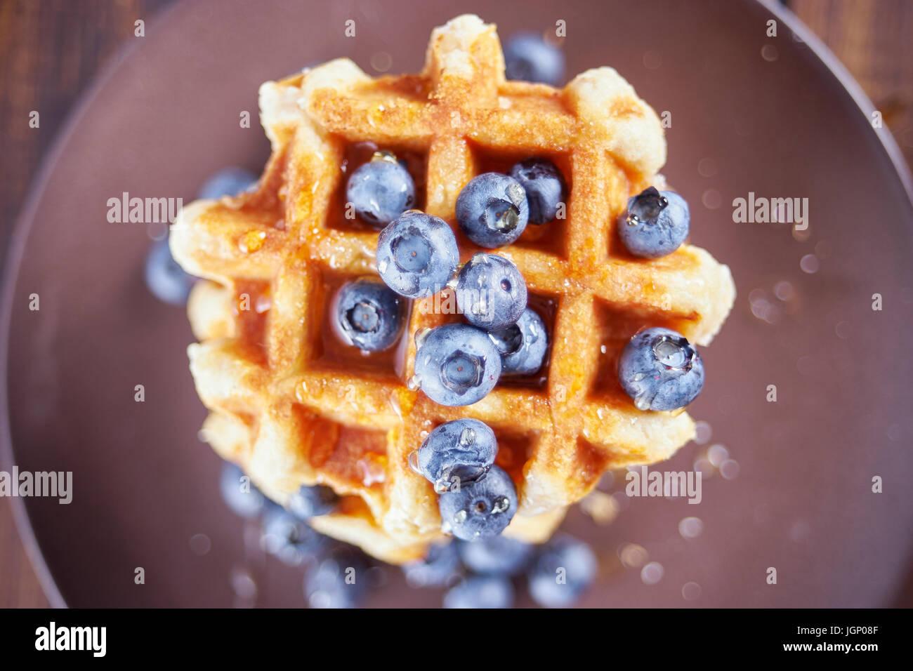 Vista superior del dulce waffles belgas. Imagen De Stock