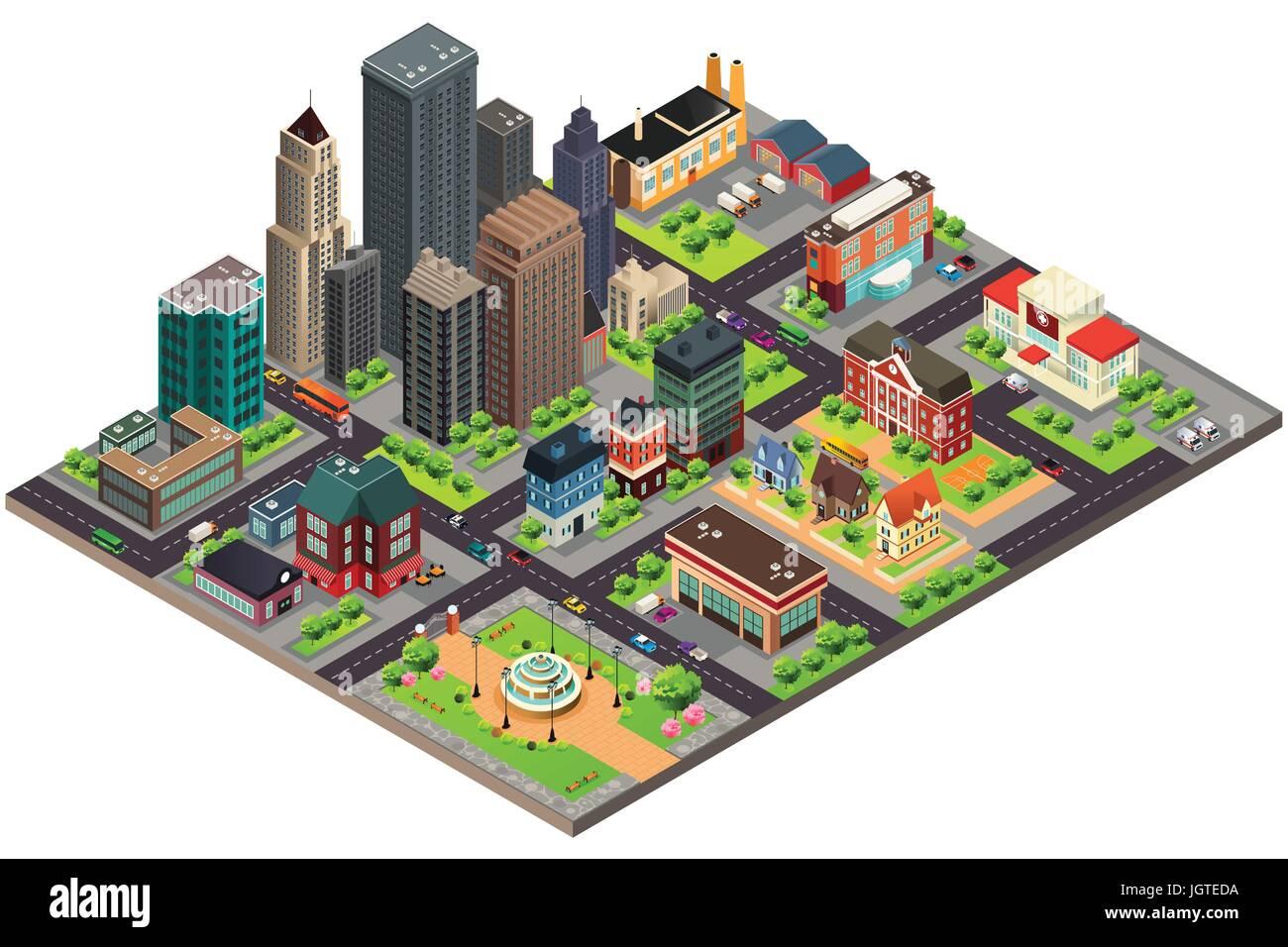 Una ilustración vectorial de planos isométricos de diseño de edificios y calles de la ciudad Ilustración del Vector