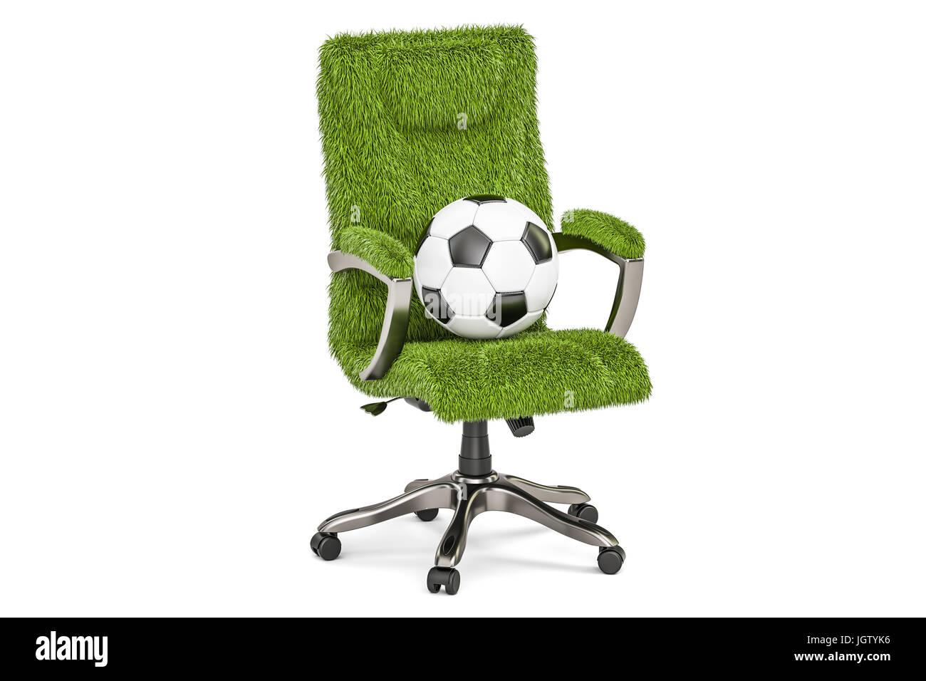 Grassy silla de oficina con una pelota de futbol concepto rendering aislado  sobre fondo blanco jgtyk 115c8f9fa40f
