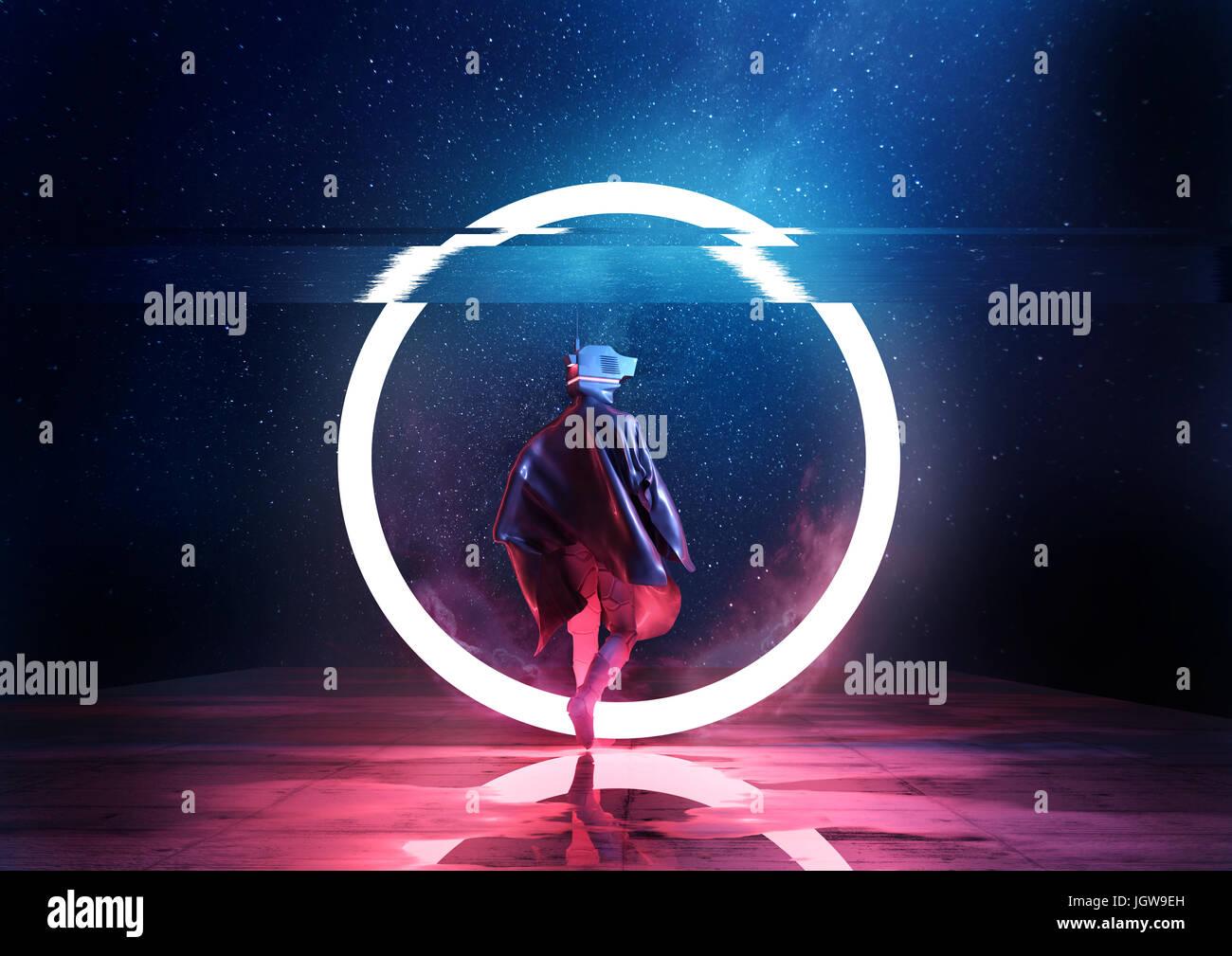 Retro futuro. Un futurista spaceman thorugh caminar un círculo de luz. Ilustración 3D Imagen De Stock
