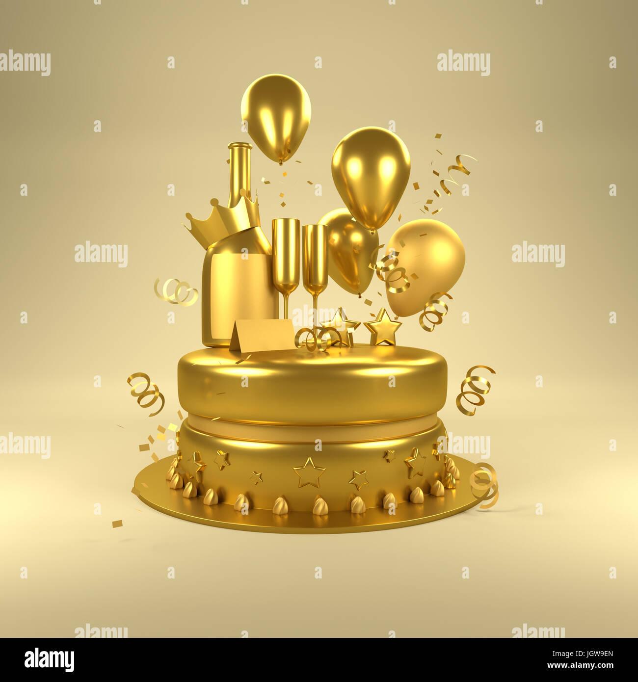 Oro sorpresa de cumpleaños. Celebraciones de cumpleaños con globos de oro, vasos de oro y la botella de Imagen De Stock