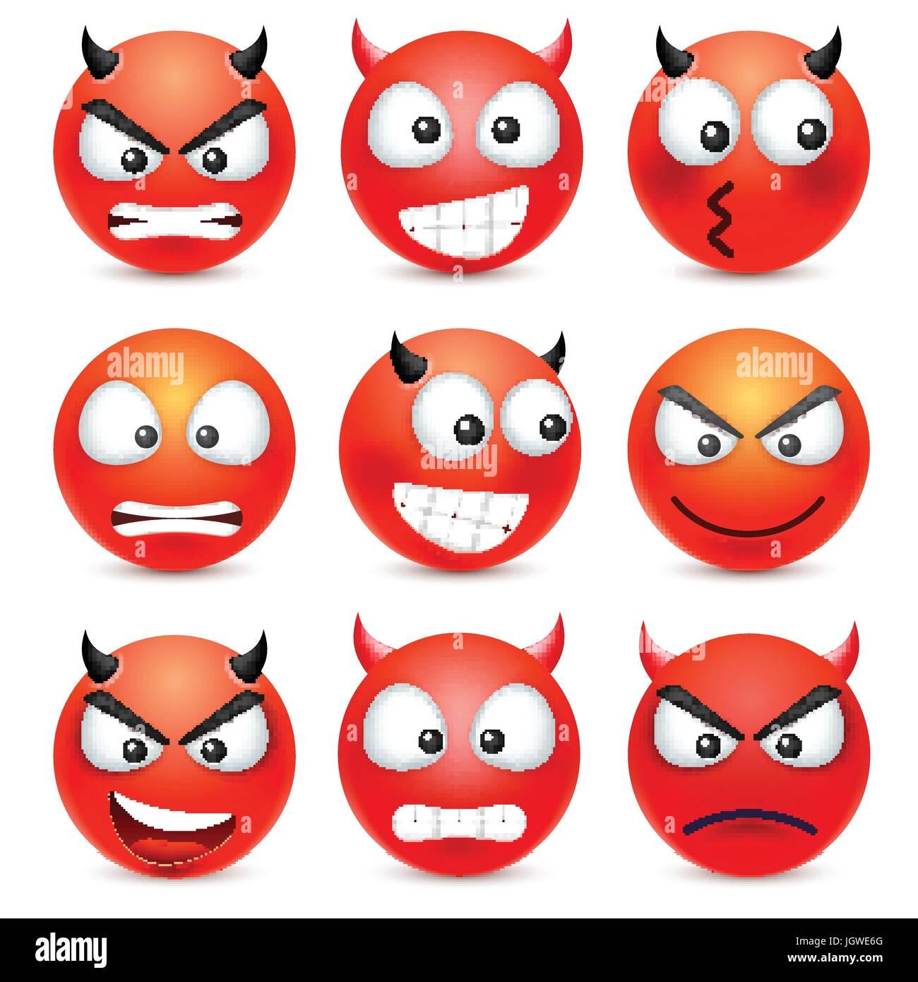Smileyjuego De Emoticonos Cara Roja Con Las Emociones La
