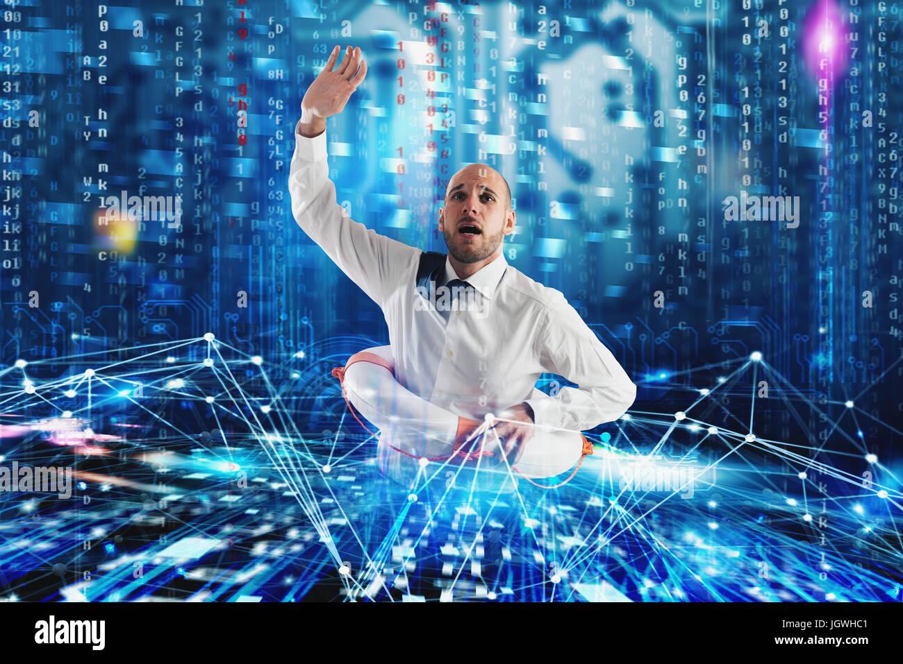 El empresario necesita ayuda para navegar por la internet. Problema de exploración de Internet concepto Imagen De Stock