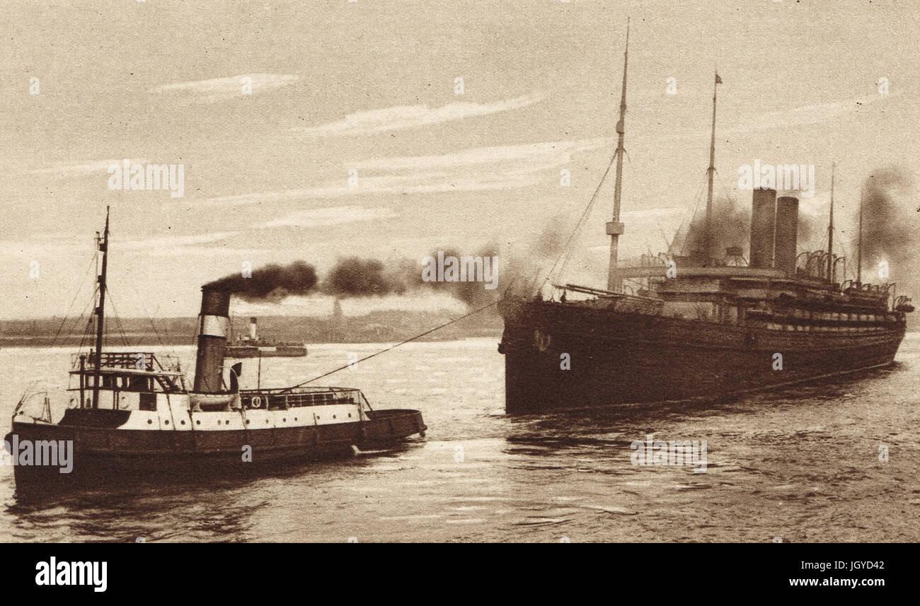 Llegada de SS Baltic y el General John J. Pershing, 7 de junio de 1917 Imagen De Stock