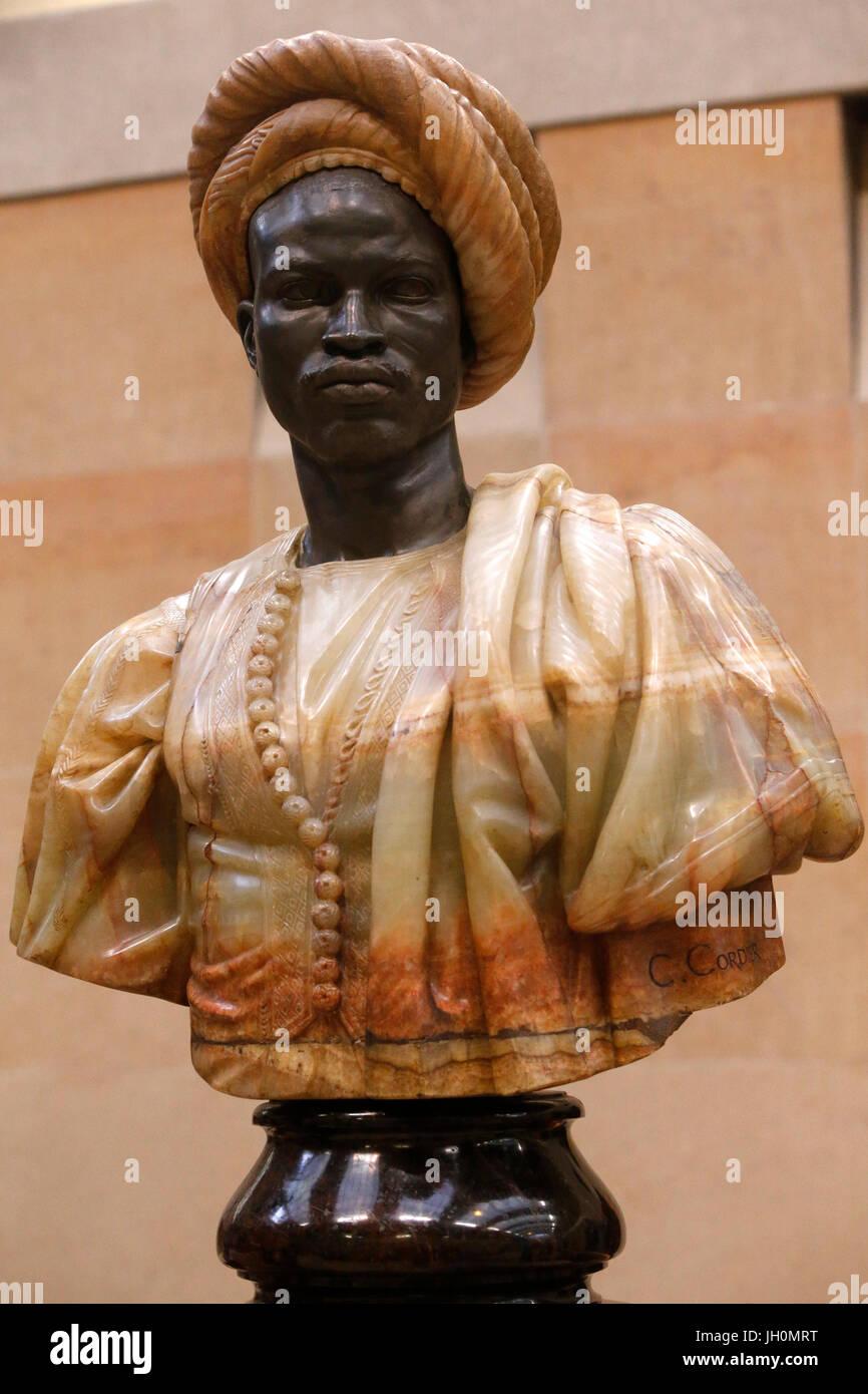 Museo de Orsay. Charles Cordier. Soudan negro. Bronce & Onyx-mármol de Argelia. 1856. París. Francia. Imagen De Stock