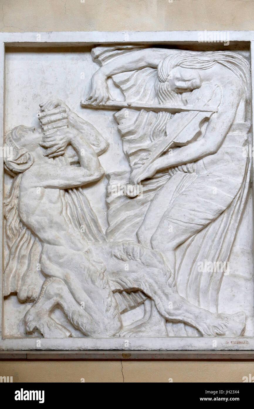 Antoine Bourdelle museo, París. La música. Alivio para el teatro de los Campos Elíseos. 1912. El Imagen De Stock