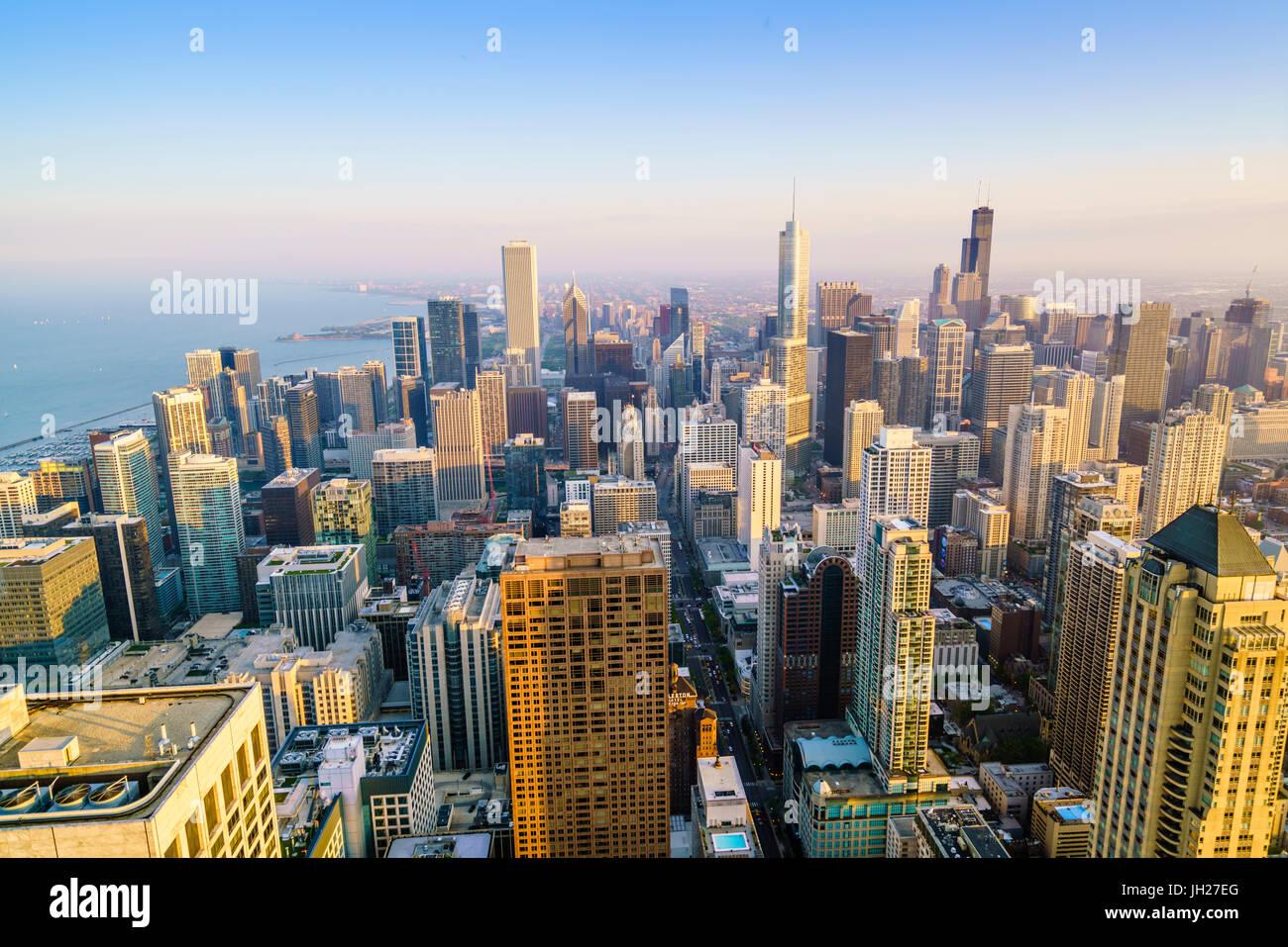 El horizonte de la ciudad, Chicago, Illinois, Estados Unidos de América, América del Norte Imagen De Stock