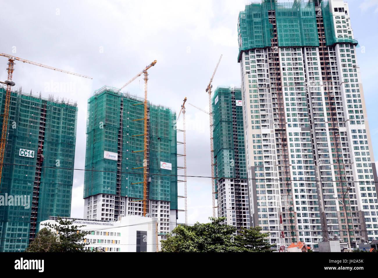 El sitio de construcción en Saigón Sur, una mezcla de desarrollo urbano residencial y comercial que cubre 3.300 hectáreas. Ho Chi Minh City. Vietnam. Foto de stock