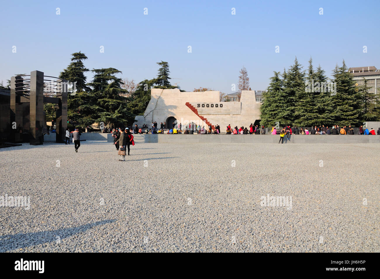 A partir del 3 de enero de 2015. Nanjing, China. Los visitantes chinos visitando el museo de sitio y Masacre de Nanjing en Nanjing, China, ubicado en la provincia de Jiangsu. Foto de stock