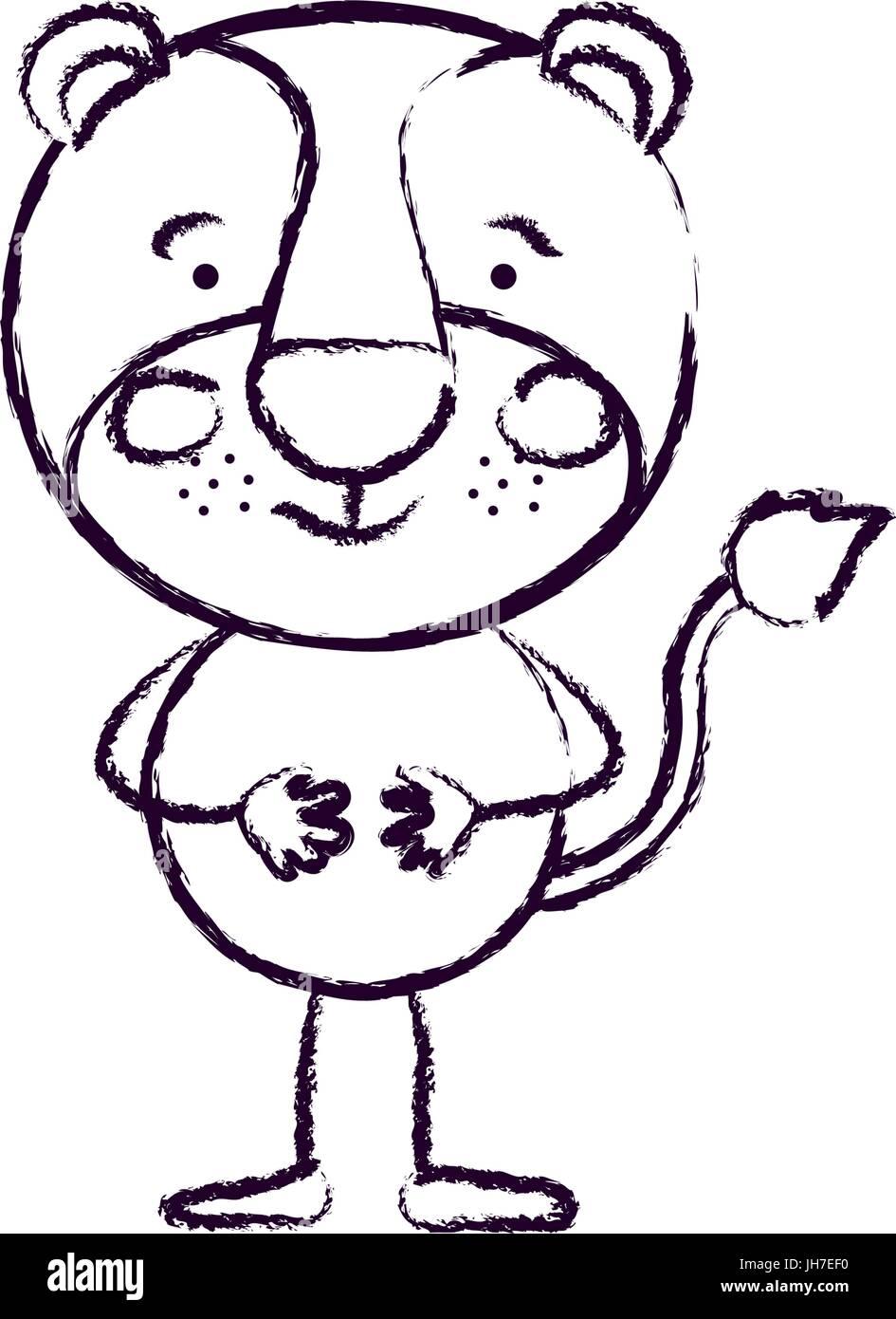 Silueta borrosa caricatura de cute lion felicidad expresión sin mane Ilustración del Vector