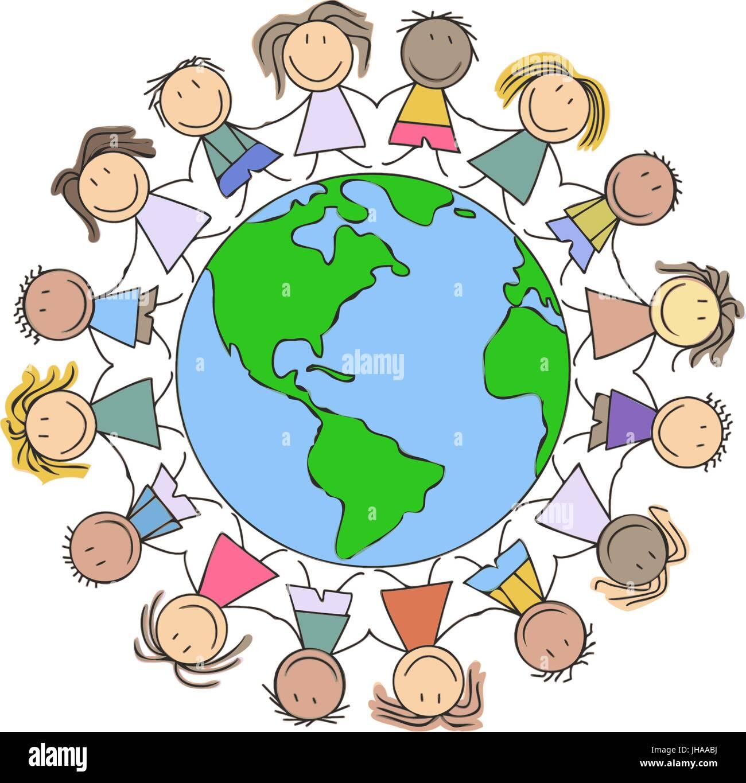 Ilustración Dibujo Para Niños Los Niños Los Niños Tomados De Las