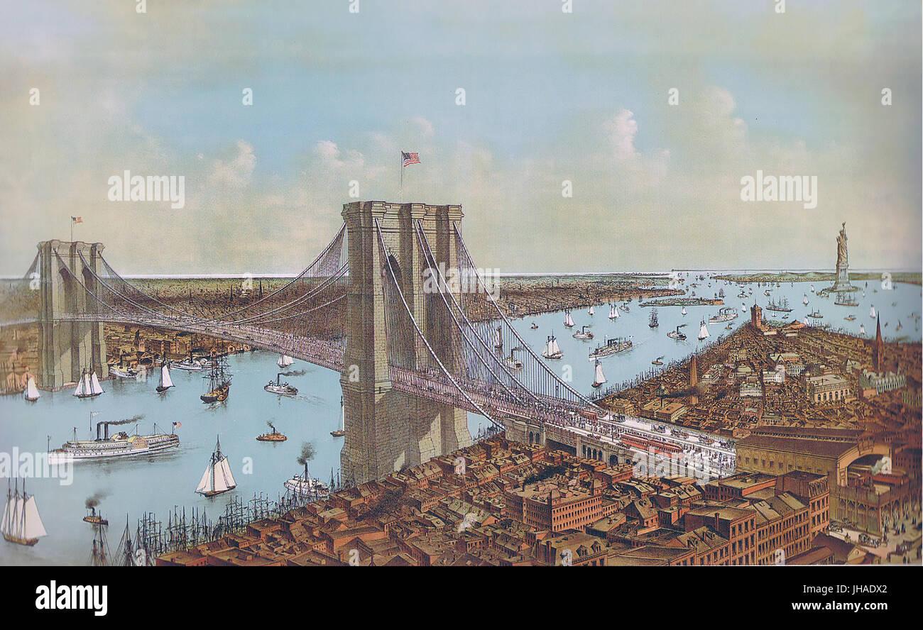 Puente de Brooklyn un 1892 imprimir por Currier & Ives Imagen De Stock