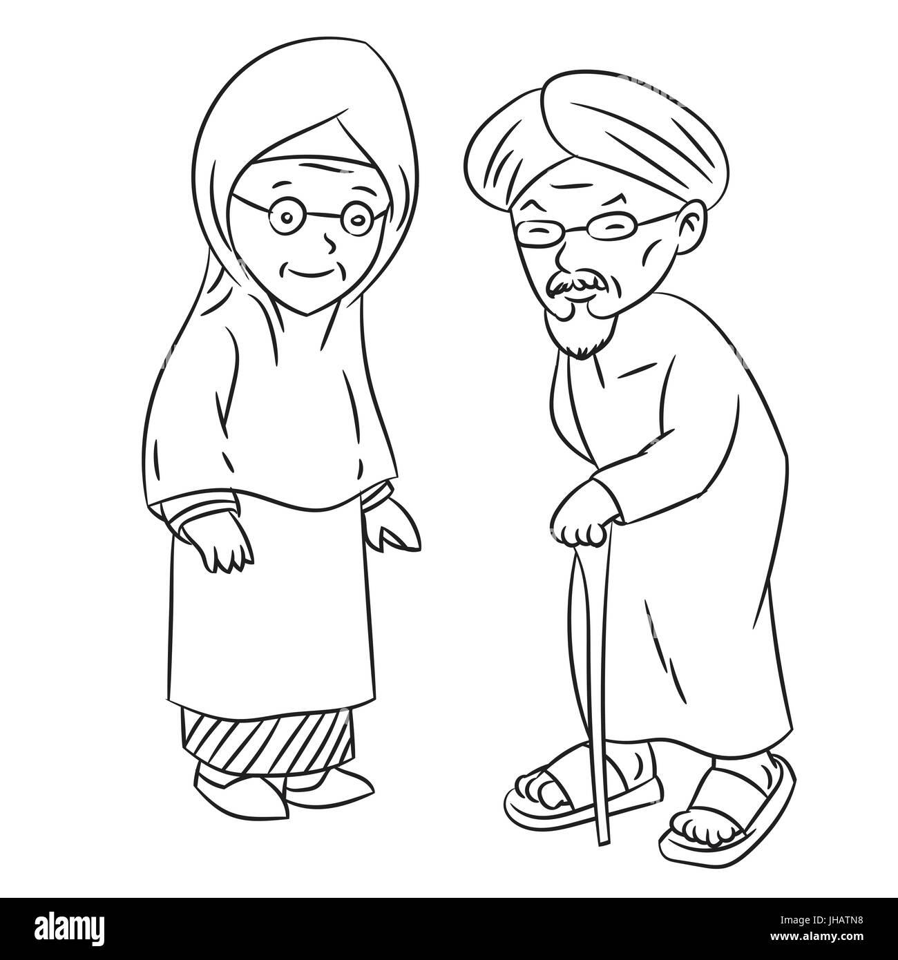 Elderly Senior Age Couple Vector Imágenes De Stock Elderly