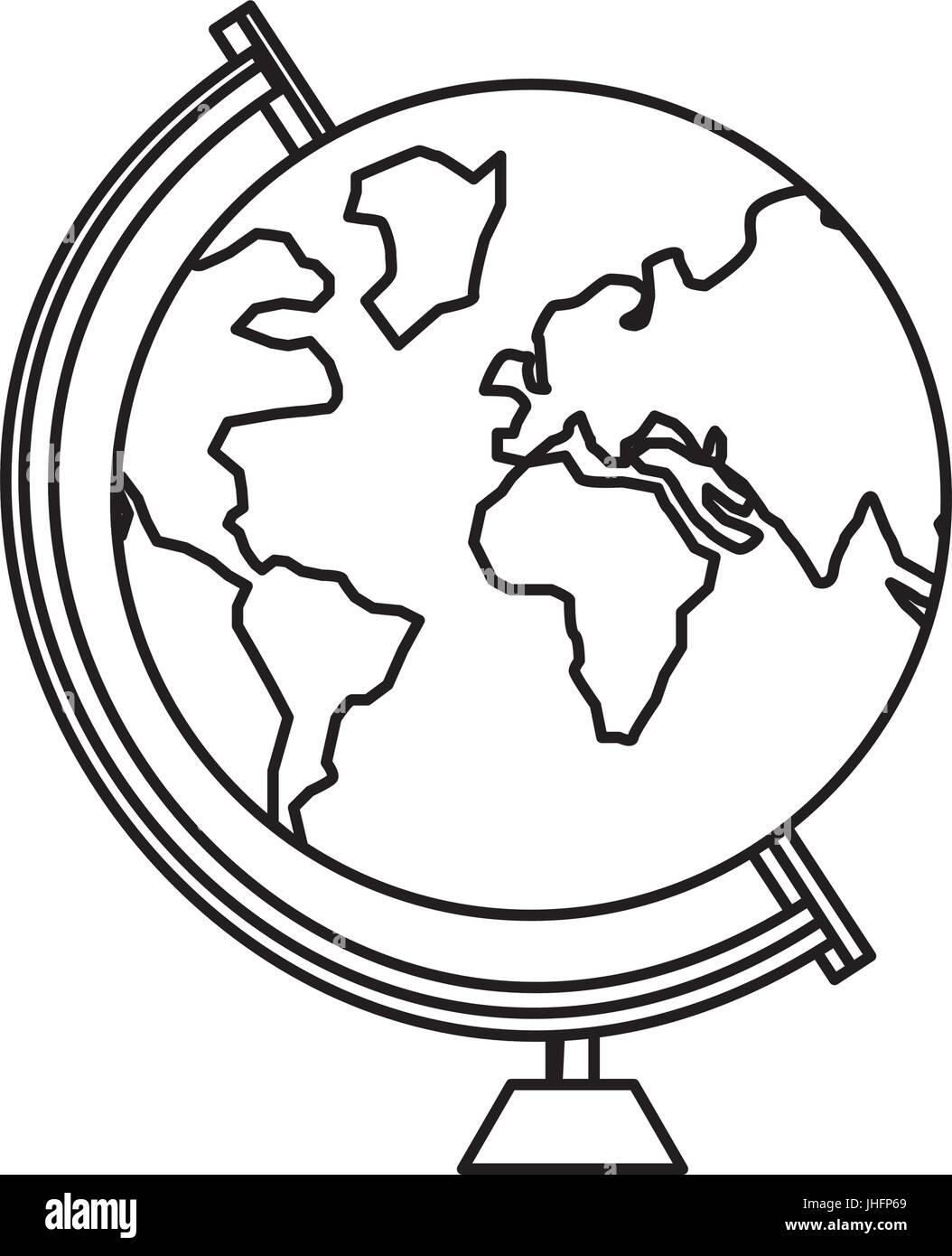 Icono De Globo Terráqueo Escolar Ilustración Vectorial Diseño