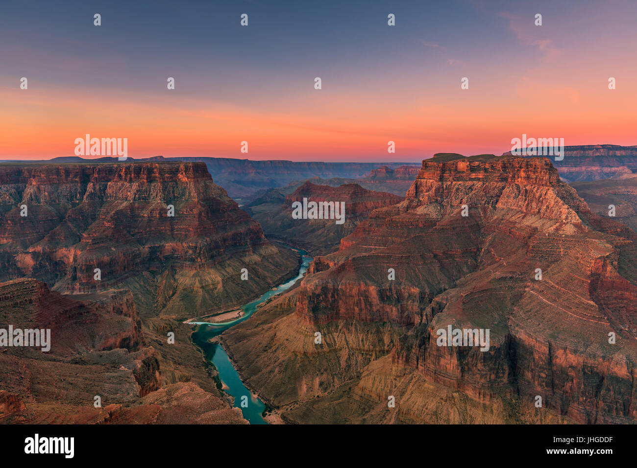 Confluencia de los ríos principales y poco de Colorado, el Parque Nacional del Gran Cañón, Arizona, Imagen De Stock