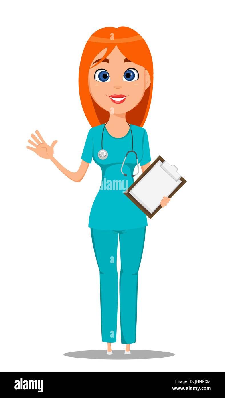 Enfermera Médico Del Trabajador En Uniforme Azul Túnica Y