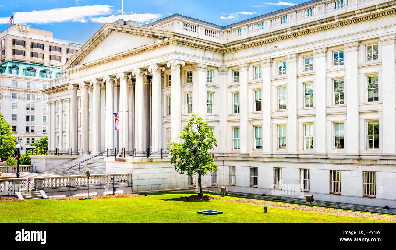 El edificio de la Tesorería, en Washington D.C. Foto de stock