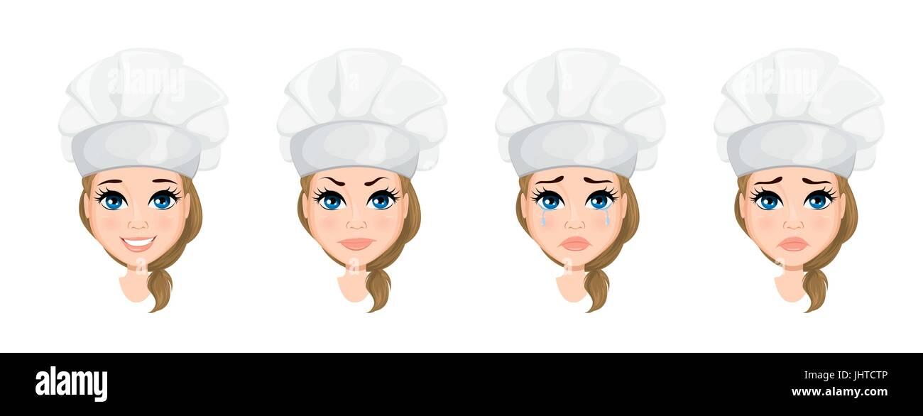 Chef Mujer Cara Con Diferentes Emociones. Set. Cute