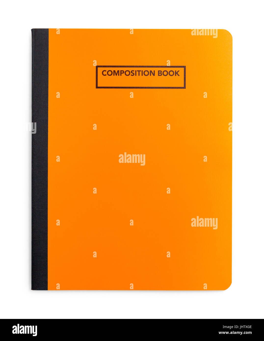 Composición del Libro Naranja aislado sobre fondo blanco. Imagen De Stock