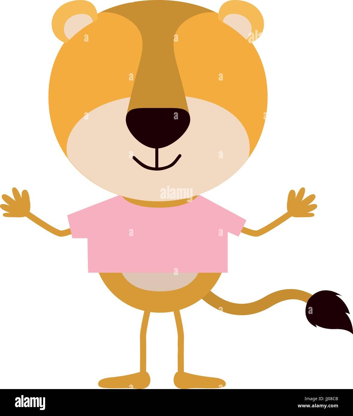 Colorido rostro caricatura de tigre sin rayas con t-shirt Ilustración del Vector