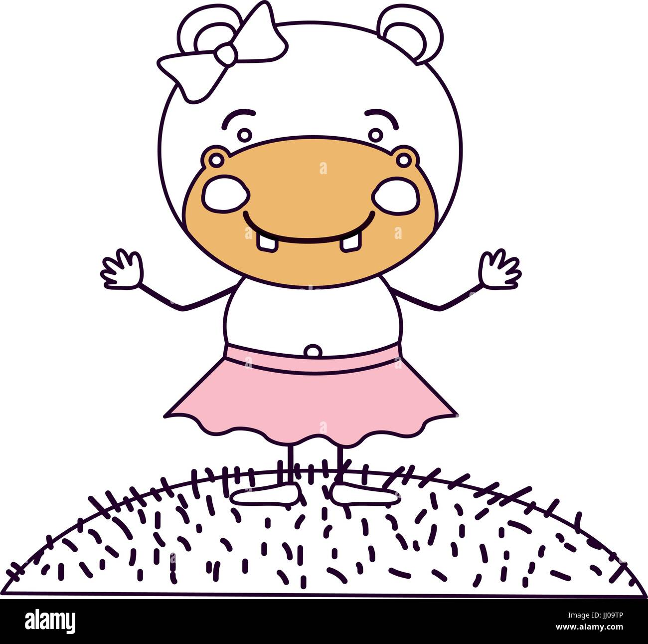 Silueta de color cielo escena secciones horizontal y la hierba con la caricatura cute expresión hippo en falda con encaje arco Ilustración del Vector